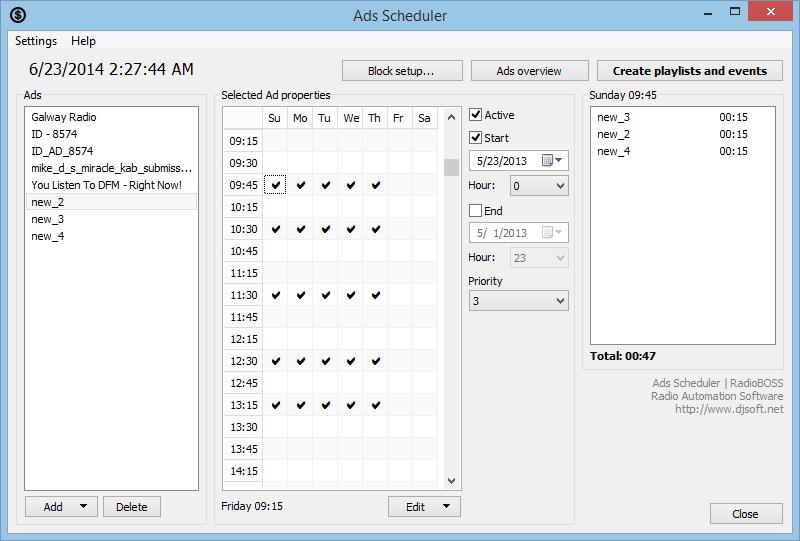 RadioBOSS – Software For Radio Station Automation ... RadioBOSS - Advertisement Scheduler ...