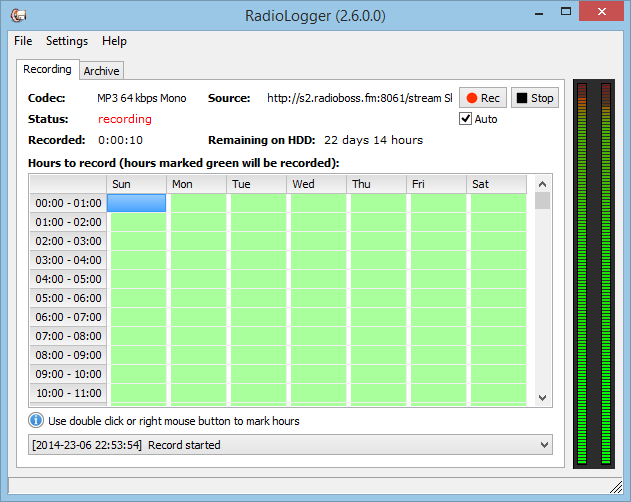 RadioLogger - program used to record radio station broadcast on the computer hard drive